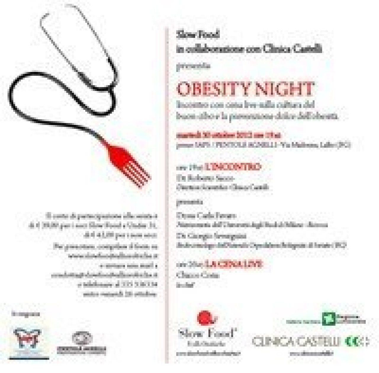 Obesity Night, un'iniziativa sul rapporto cibo-salute